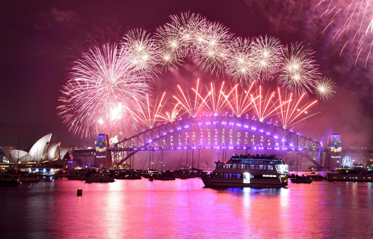 Image: Fireworks erupt over Sydney's iconic Harbour Bridge and Opera House during the New Years Eve fireworks show on January 1, 2017.