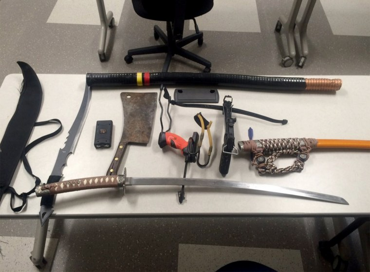 Several weapons were seized in the Gillette Stadium employee parking lot.