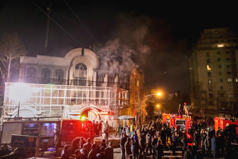 Image: TOPSHOT-IRAN-SAUDI-EXECUTION-PROTEST