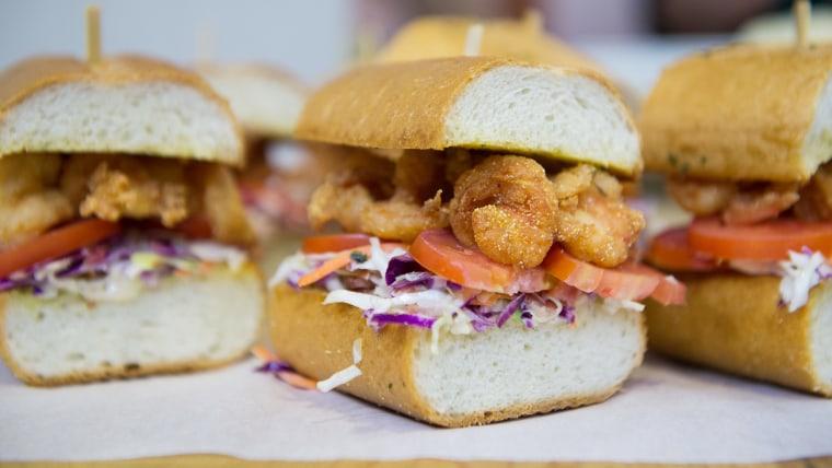 Shrimp Po'Boys with Bacon Coleslaw on Garlic Bread