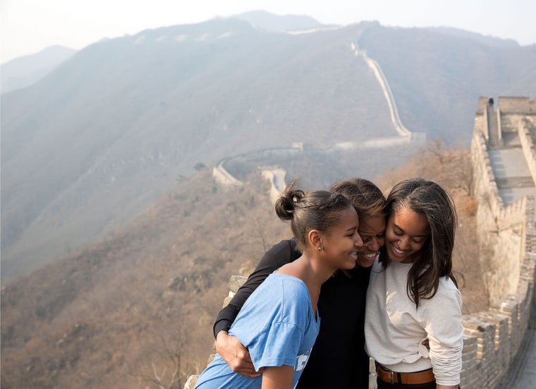 Michelle Obama with daughters Sasha and Malia during a visit to China's Great Wall
