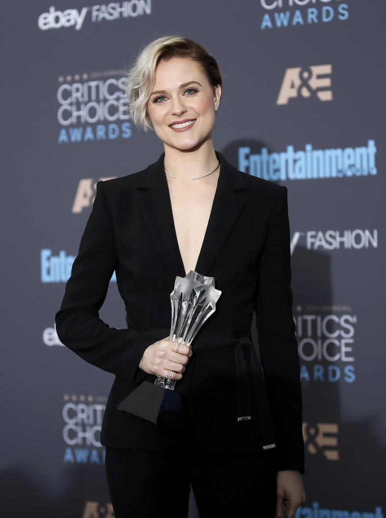 Evan Rachel Wood poses with her award during the 22nd Annual Critics' Choice Awards in Santa Monica.