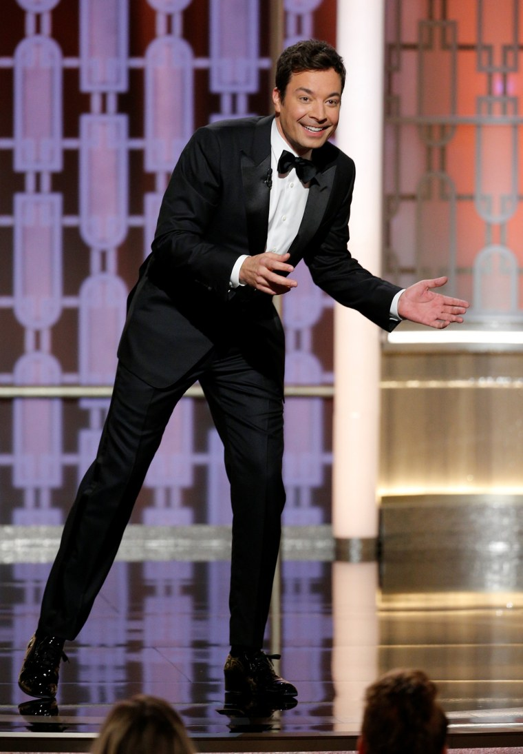 Image: Host Jimmy Fallon presents during the 74th Annual Golden Globe Awards show in Beverly Hills