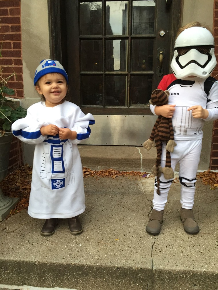Timothy Neuendorf's son Thomas, 3, even took his beloved Big Monks along when he trick-or-treated on Halloween dressed as a Stormtrooper alongside his little sister, Cecelia,1, seen here as R2-D2.