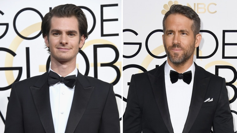 Andrew Garfield (left) and Ryan Reynolds shared a memorable moment at the Golden Globes.