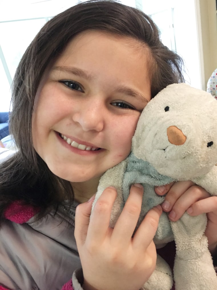 Mia Wood, now 12, has loved her own stuffed bunny, William, since she was one year old – despite several close calls.