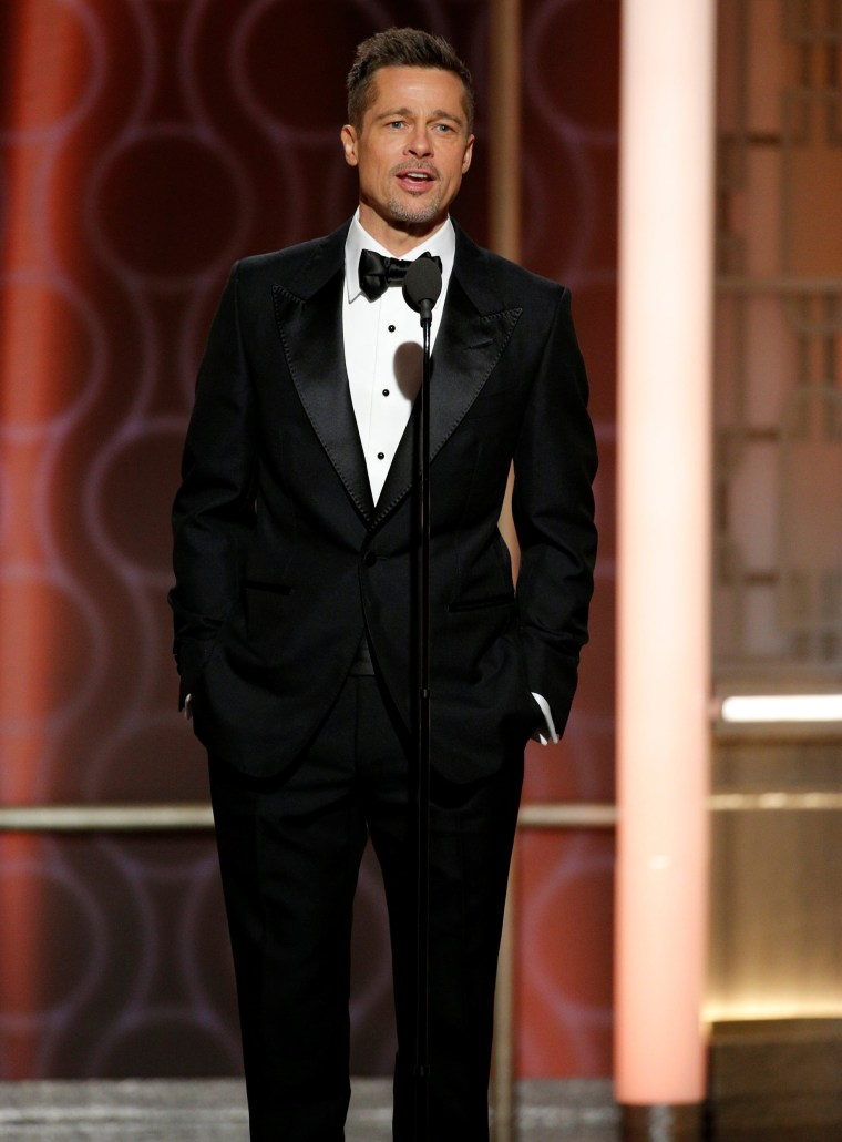Brad Pitt presents during the 74th Annual Golden Globe Awards show in Beverly Hills