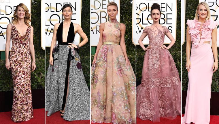 Golden Globe fashion trends. Laura Dern, Jessica Biel, Giuliana Rancic, Lily Collins, Carrie Underwood