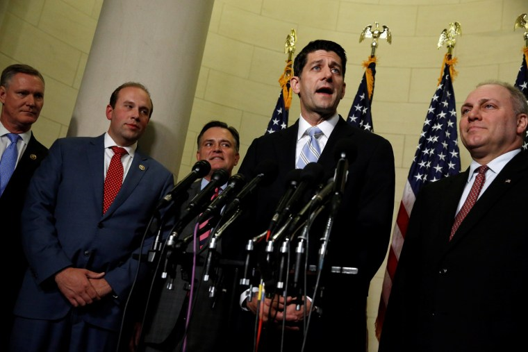 Image: Ryan and Scalise introduce Stivers, Smith and Messer as new members of the House Republican leadership team on Capitol Hill in Washington