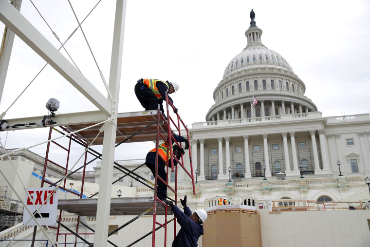Image: BESTPIX Construction Continues On Inauguration Viewing Standing