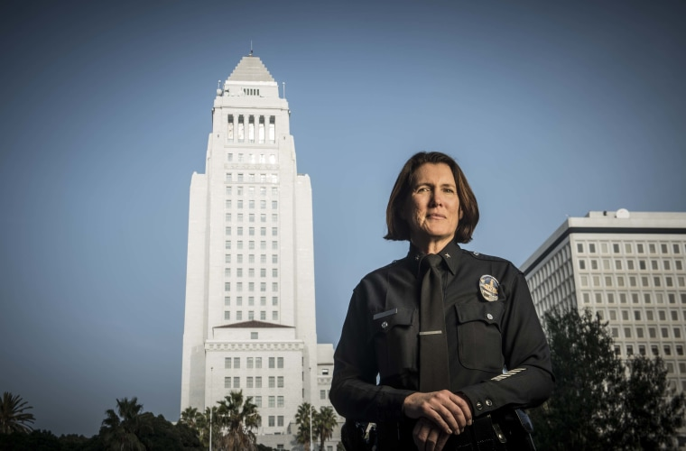 Los Angeles Police Department Commander Anne Clark in front of Los Angeles City Hall. Clark is the first Latina to ever hold the position with the LAPD.