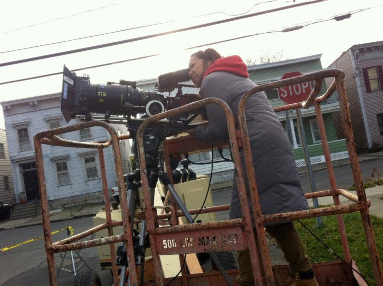Jess dela Merced working during a film shoot. The Filipino-American filmmaker is driven by the lack of diversity in Hollywood.