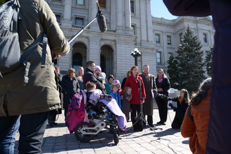 Mathis family at the Colorado capitol in Denver in 2013