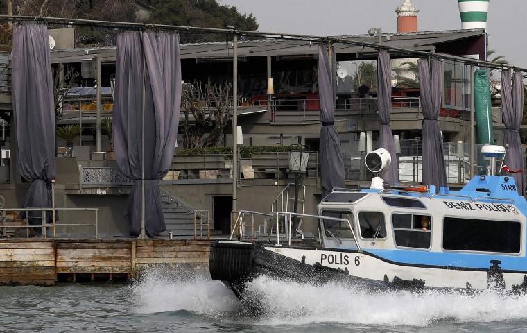 Image: Turkish coast guard boat patrols in front of the Reina nightclub