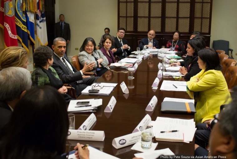 Moua at an AAPI White House meeting.