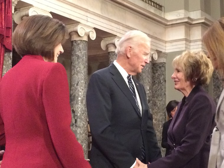 Nevada Sen. Catherine Cortez Masto (L) and her mother Joanna Cortez (R) with Vice President Joe Biden at the swearing-in of the 115th Congress.