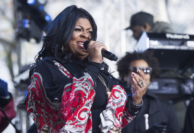 """Image: Kim Burrell performs on NBC's """"Today"""" show at Rockefeller Plaza on Dec. 9 in New York."""