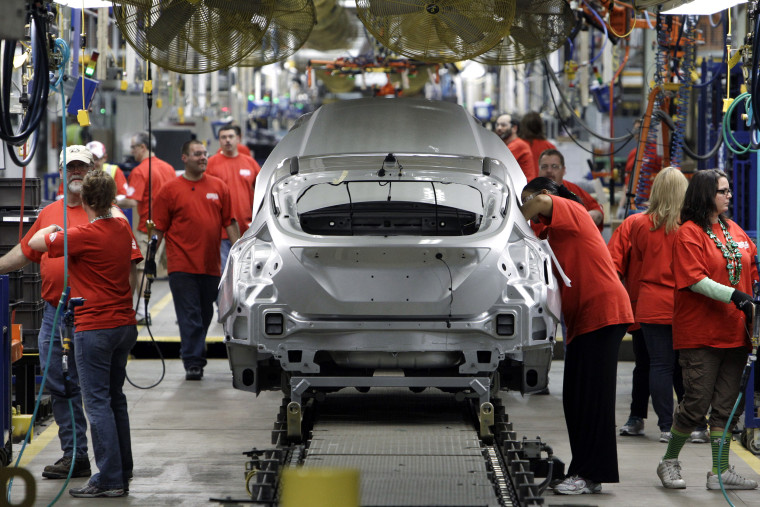 Image: Ford Focus vehicles are assembled at the Michigan Assembly Plant in Wayne, Michigan on March 17, 2011.