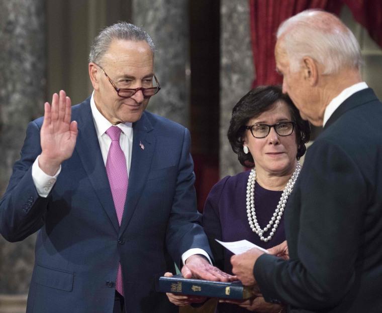 IMAGE: Chuck Schumer sworn in as Senate minority leader
