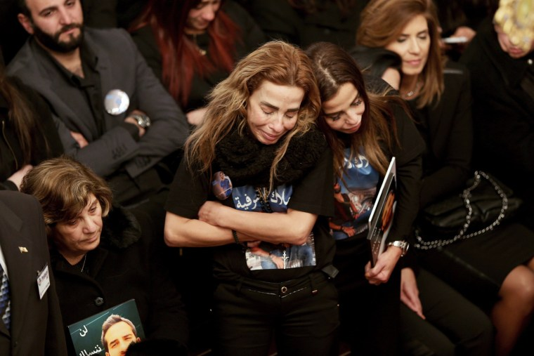 Image: Sisters of Lebanese victim Elias Wardini, who was killed in the gun attack on a nightclub in Istanbul, mourn during his funeral in Church of Our Lady in Beirut, Lebanon on Jan. 3, 2017.