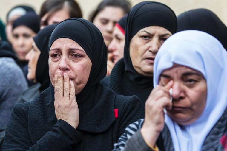 Image: Friends and relatives mourn during the funeral of Lian Nasser, an 18-year-old Arab Israeli woman, who was one of the victims of an attack on a night club in Istanbul on New Year's Eve, during her funeral ceremony on Jan. 3, 2017 in the Arab Israeli