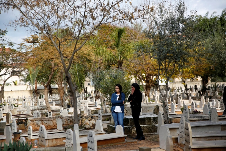 Image: Women mourn during the funeral of Israeli woman, Leanne Nasser, who was killed in an Istanbul nightclub attack, in a cemetery at the Israeli town of Tira, Israel on Jan. 3, 2017.