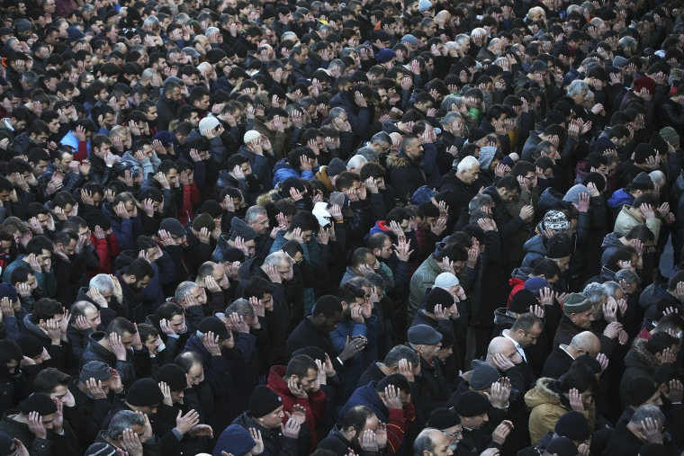 Image: Mourners pray during the funeral of Yunus Gormek, 23, one of the victims of the attack at a nightclub on New Year's Day, in Istanbul on Jan. 2, 2017.