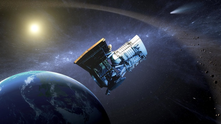 Wide-field Infrared Survey Explorer, or WISE spacecraft, in its orbit around Earth