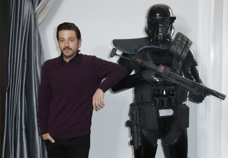 Actor Diego Luna poses for photographers during the Rogue One: A Star Wars Story fan photo call in London, Wednesday, Dec. 14, 2016.