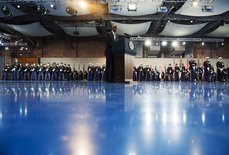 Image: President Barack Obama speaks during the Armed Forces Full Honor Review Farewell Ceremony for Obama at Joint Base Myers-Henderson Hall in Arlington, Virginia on Jan. 4, 2017.
