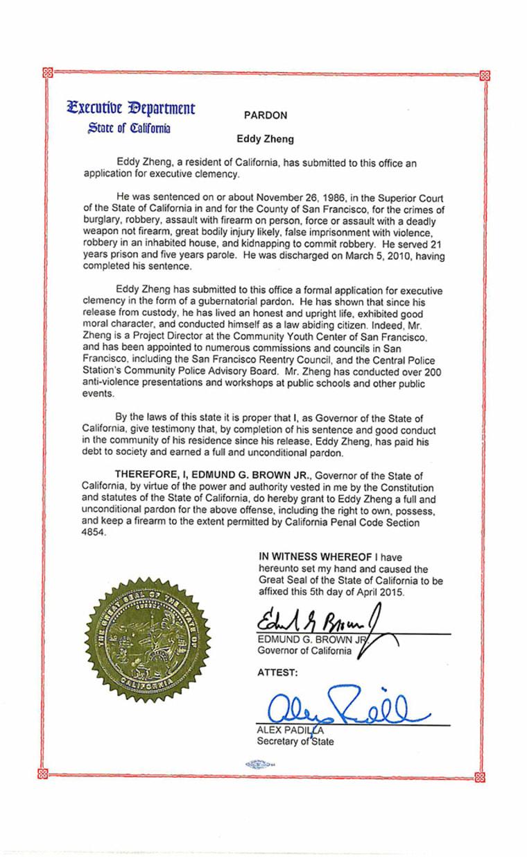 Eddy Zheng's 2015 pardon from California Gov. Jerry Brown