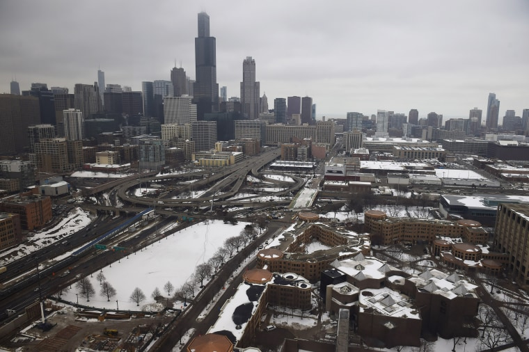 Image: The Chicago skyline is seen from the University of Illinois at Chicago in Chicago, Ill.