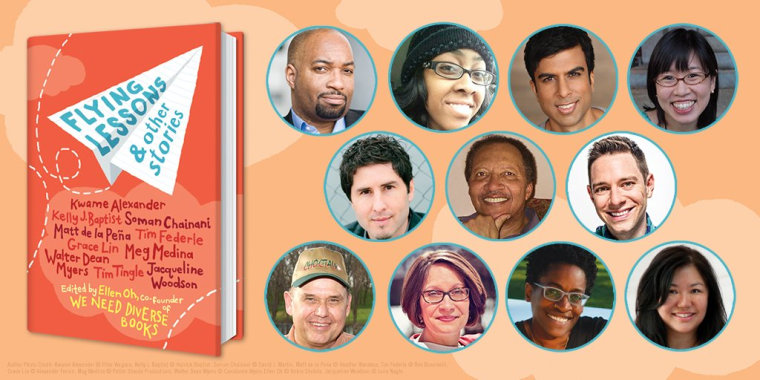 """Ten writers and an editor were involved in the creation of """"Flying Lessons & Other Stories,"""" including Kwame Alexander, Grace Lin, and Matt de la Pe?a."""