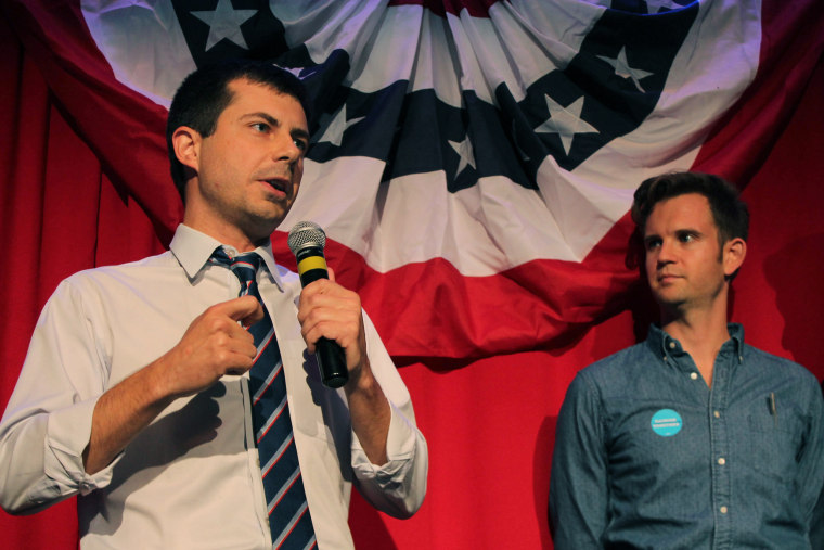 Image: Sound Bend Indiana Mayor Peter Buttigieg talks about Republican Vice-presidential candidate Mike Pence in front of potential voters at a Hillary Clinton debate watching party for the LGBT community in Chicago, Illinois on Sept. 26.