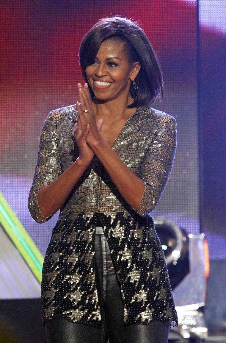 Image: First lady Michelle Obama smiles on stage at Nickelodeon's 25th annual Kids' Choice Awards in Los Angeles, Calif., on March 31, 2012.