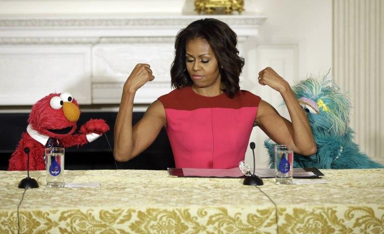 Image: Michelle Obama, Elmo, Rosita