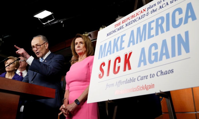 Image: Senate Democratic Leader Chuck Schumer and House Democratic Leader Nancy Pelosi speak following a meeting with U.S.President Barack Obama on congressional Republicans' effort to repeal the Affordable Care Act on Capitol Hill in Washington.
