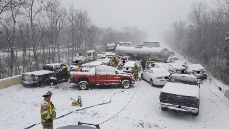 This image provided by the Connecticut State Police shows the scene of a crash involving as many as 20 vehicles on Interstate 91 in Middletown, Conn., on Saturday, Jan. 7, 2017.  No serious injuries were reported.