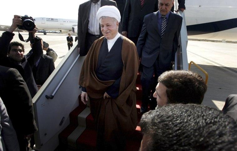 Image: Iran's former president Akbar Hashemi Rafsanjani arrives at Baghdad international airport, March 2, 2009.