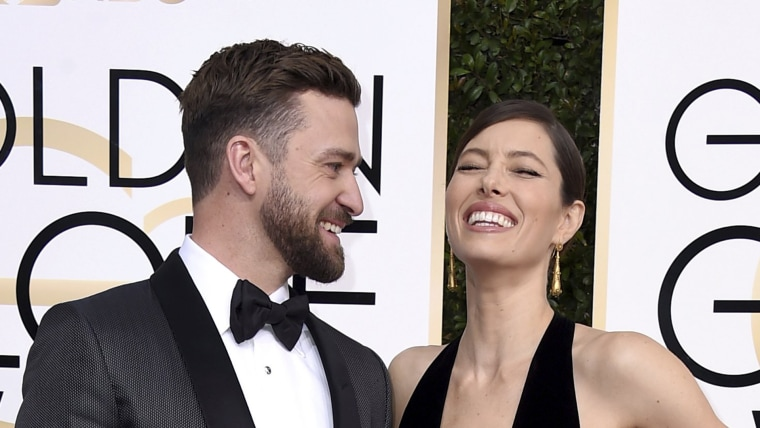 Justin Timberlake, left, and Jessica Biel arrive at the 74th annual Golden Globe Awards at the Beverly Hilton Hotel on Sunday, Jan. 8, 2017, in Beverly Hills, Calif.