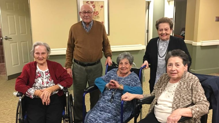 Image of five siblings who live at the same nursing home