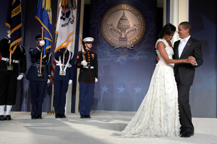 Michelle Obama white inauguration dress 2009