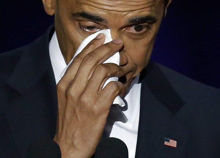 Image: President Barack Obama wipes his tears as he speaks at McCormick Place in Chicago.