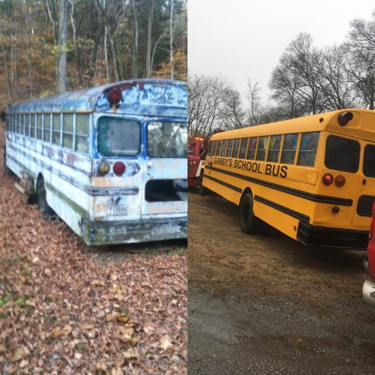 Gabrielle's bus before and after