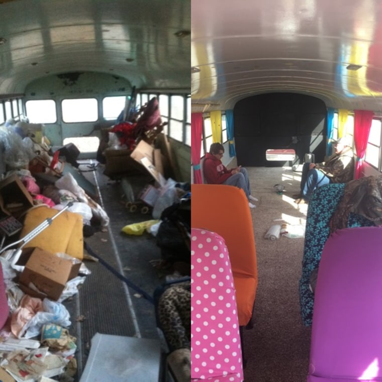 Students had to clean out the inside of the old bus before restoring it and turning it into a play area.