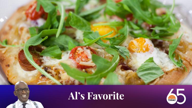 Al Roker's Breakfast Pizza with Tomato, Burrata and Garlic Butter