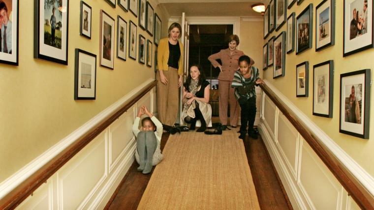 Laura Bush, Jenna Hager and Barbara Bush welcome Malia and Sasha for a tour of the White House.