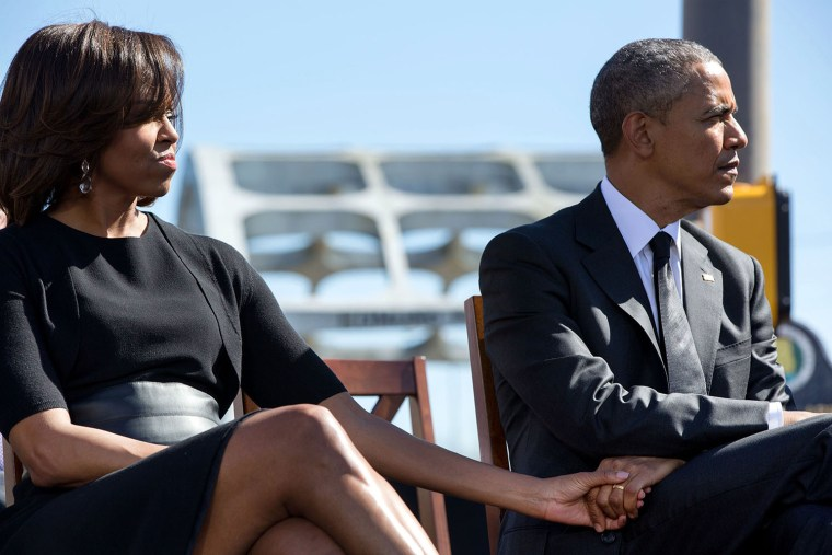 The Obamas attend the 50th anniversary of the civil rights march in Selma, Alabama.