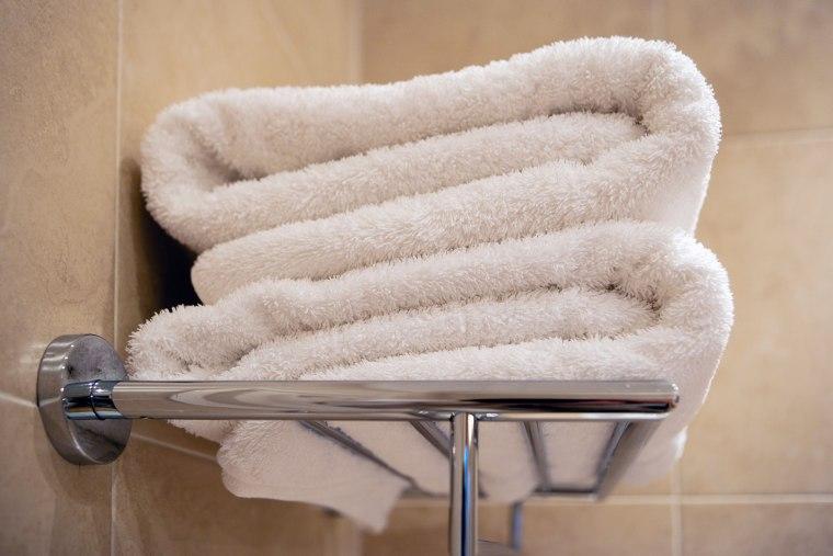 Bath towels on rack