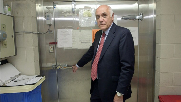 William Lisman, the Luzerne County Coroner, stands at the county morgue in Luzerne County, Pennsylvania.
